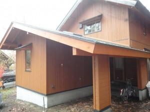 部屋の増築と一体の車庫