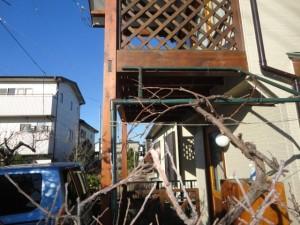 ブドウ棚とベランダ