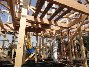 梁は米松で桧の大黒丸太柱の家